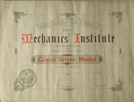 Blank Grand Silver Medal Certificate of Mechanics Institute Twentieth Industrial Exhibition