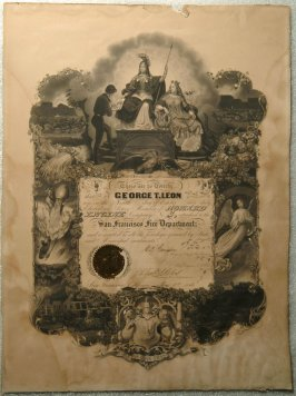 S.F. Fire Dept. Howard Engine Co. #3 certificate issued to George T. Leon