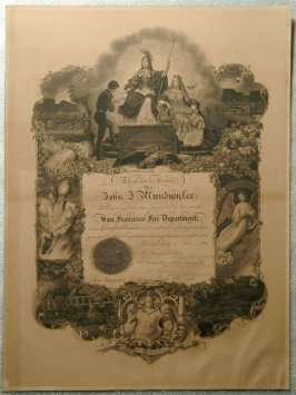 Certificate, S.F.F.D. issued to J.J. Mundwyler - 12/2/1866