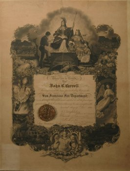Certificate from S.F. Fire Dept. issued to John C. Carroll Dec. 3, 1866 (frame d)