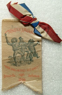 "Badge:"" Razzle-Dazzle - When Shall We Three Meet Again? Admission Day, San F rancisco, 1890"""