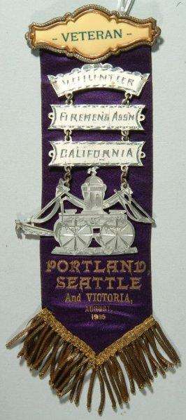 Ribbon: Portland, Seattle and Victoria, August 1905 Volunteer Firemen's Ass'n of California; three bars and engine; purple