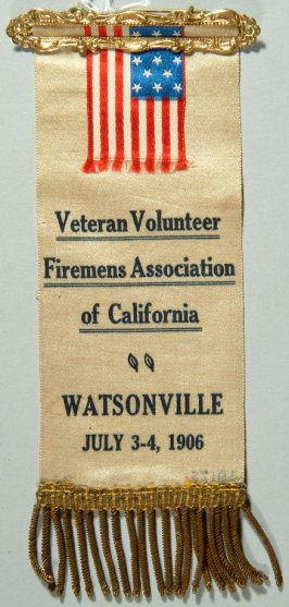 Ribbon: Veteran Volunteer Firemen's Association of California, 7/3-4/1906 small American flag; white