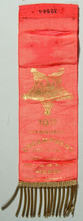 Ribbon: G.A.R. (Grand Army of the Republic), 18th national encampment red with gold star, worn by Thomas Mallon