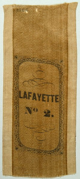 Ribbon: Lafayette Hook and Ladder #2, from cornerstone of firehouse white