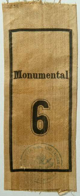 Ribbon: Monumental #6, Lafayette Hook and Ladder Company #2 from cornerstone of firehouse, white