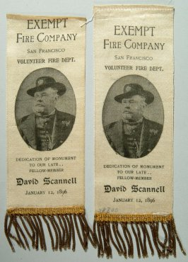 Ribbon: Exempt Fire Company, S.F.V.F.D.; Dedication of Mon- ument to David Scannell, 1/12/1896; white