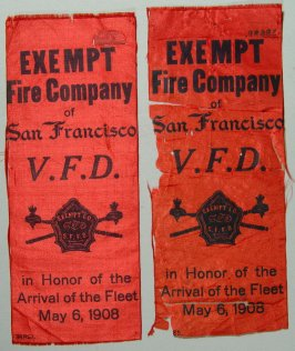 Ribbon: Exempt Fire Company of S.F.V.F.D.; honoring arrIval of fleet 5/6/08 red