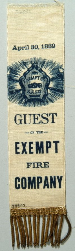 Ribbon: Guest of the Exempt Fire Company, 04/30/89 white