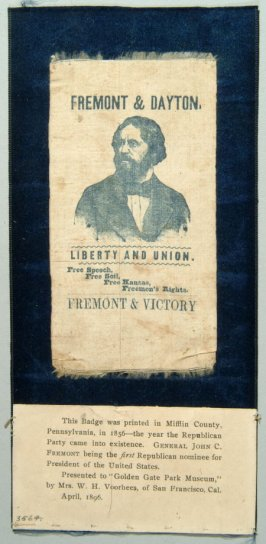 Campaign ribbon for the first Repbulican Party presidential campaign: Fremont and Dayton