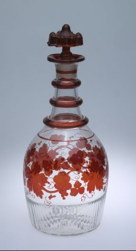 Decanter with stopper and floral designs