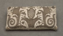Embroidered cushion: beige
