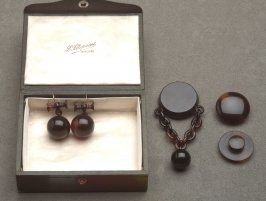Jewelry set with case: pair of studs, pair of earrings and brooch