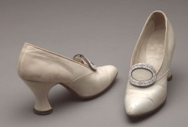 White shoes : with metal buckles