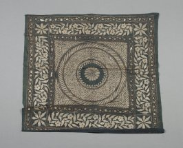 Pseudo metallic stenciling square with central medallion and boarders, cotton