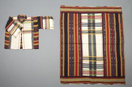 Jacket : with square cloth red, black, yellow and green stripes and bands on white Only measured the square textile