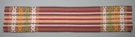 Fabric link; scarf or shawl; cotton, polychrome stripes, with bands of continuous weft brocading at each end in white, green and yellow