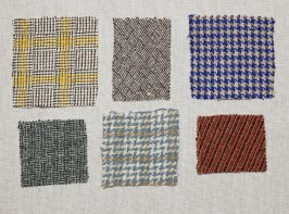 Seven Harris tweed fragments