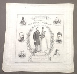 Handkerchief commemorating the wedding of Princess Victoria and Prince Albert, Duke of York.