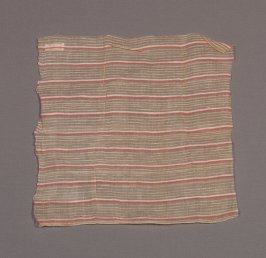 Cloth used to stiffen skirts (two pieces) b) yellow, with red and white stripes