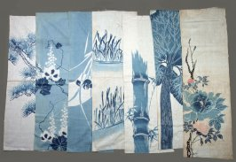 Seven fragments: blue and white print of bamboo and florals