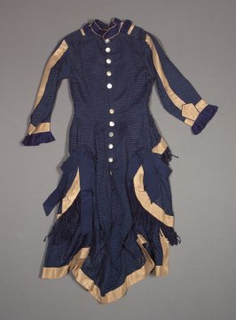 Girl's dress dark blue and beige (includes under skirt, b)