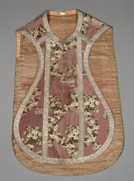 Chasuble embroidered flowers on purple striped ground