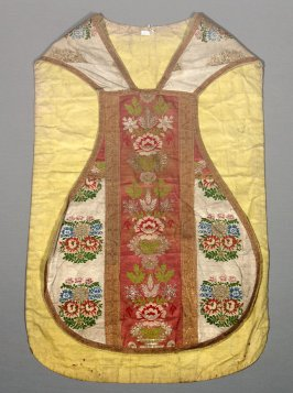Chasuble red center band with blue and white details and gold trim