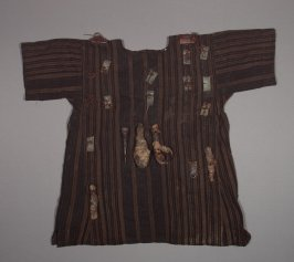 Medicine shirt with brown and black stripes
