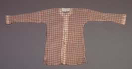 Partial costume white with orange-checked pattern, one pocket