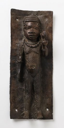 Plaque, girl with leopard