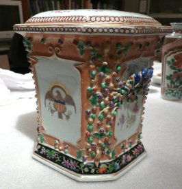 Bough pot and cover with U.S. eagle