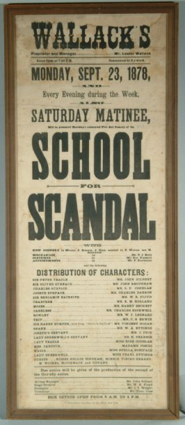 "Framed program from Wallack's Theatre for ""School for Scandal"" September 23, 1878"