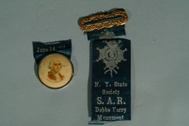 """Medal with George Washington and ribbon, """"Dobbs Ferry, etc."""""""