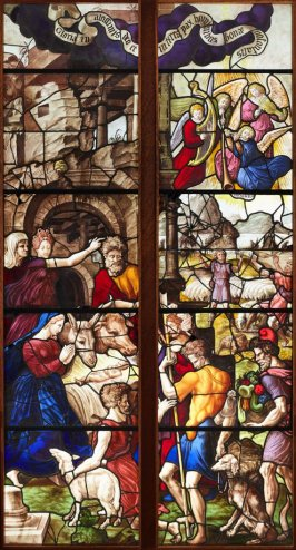 Stained glass window: The Adoration of the Shepherds (two panels)