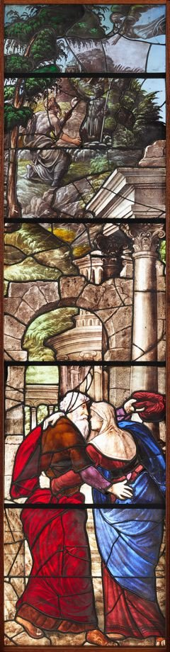 Stained glass window: The Annunciation to Joachim