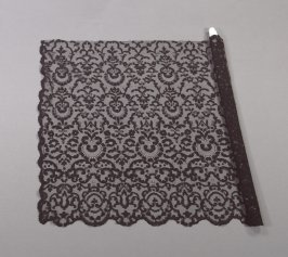Veil or shawl black, with scroll design