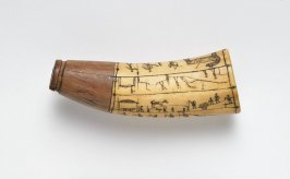Powder horn or flask with scrimshaw scenes