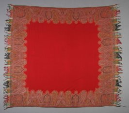 Shawl, mostly red