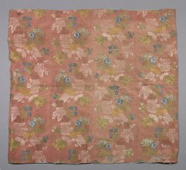 Fragment multi-colored flowers on peach background-