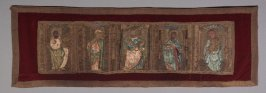 Panel depicting St. John, St. Anthony, and others embroidered in gold