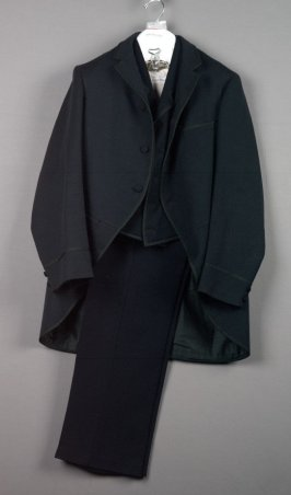 Man's suit; morning coat, vest, trousers, and suspenders