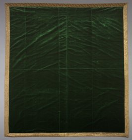 Emerald green velvet panel with gold galloon.
