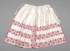 Apron : white linen with red and blue flowers