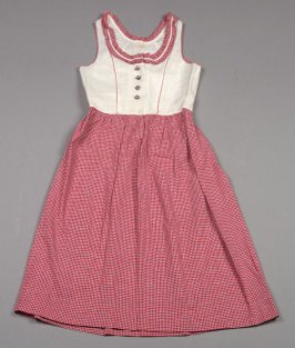 Child's dress: red, blue and white checks on beige, metal buttons