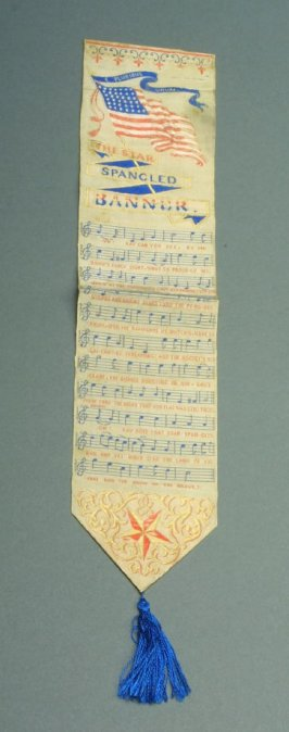 "Bookmark with words and music of ""The Star Spangled Banner"""