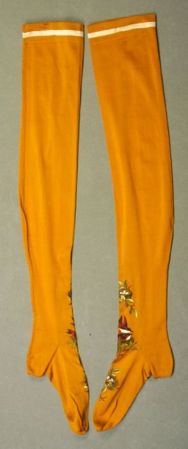 Pair of woman's stockings : gold with embroidery