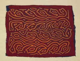 Mola panel for a woman's blouse -- Three Color Vines