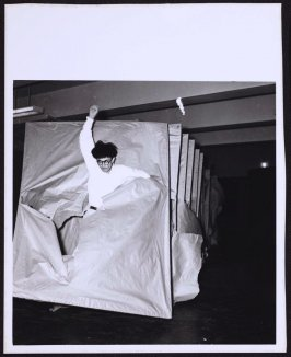 Murakami Paper Wall Action #3 from Japanese avant-garde Gutai photography of the 1960's-1970's