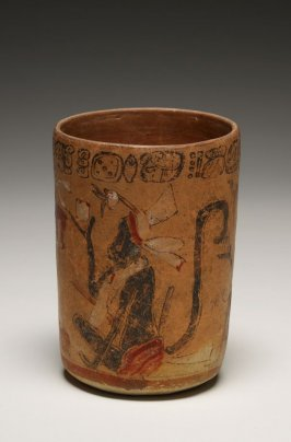 Vase with two seated monkeys and a cacao tree